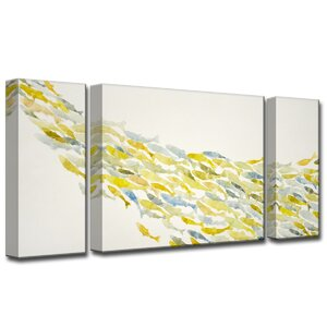 'Upstream' by Norman Wyatt Jr. 3 Piece Painting Print on Wrapped Canvas Set by Ready2hangart