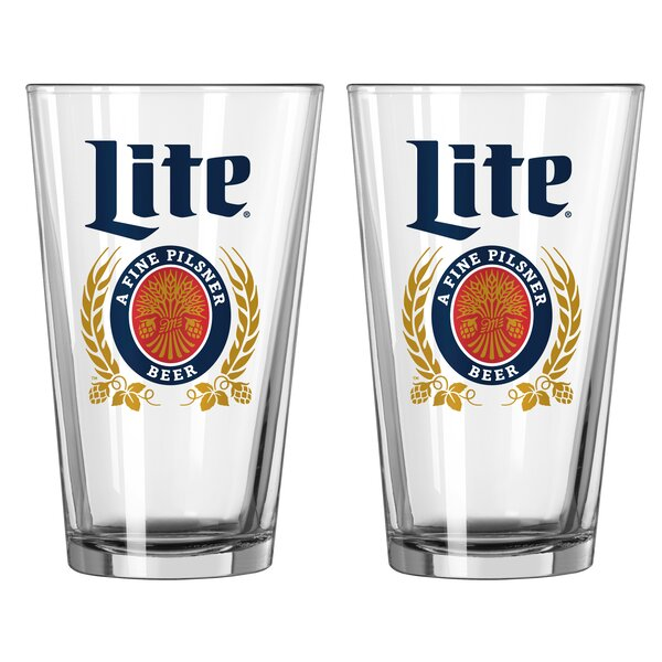 Miller Lite Crest 16 Oz. Glass Pint Glasses (Set of 2) by Boelter Brands