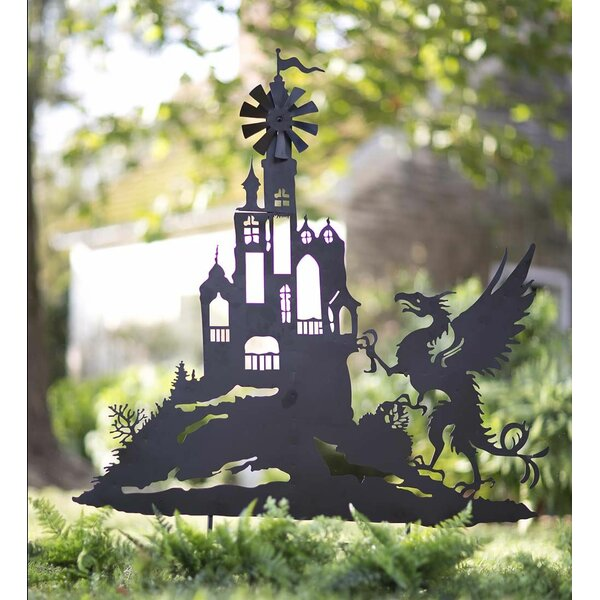 Castle and Dragon Silhouette Garden Stake by Wind & Weather