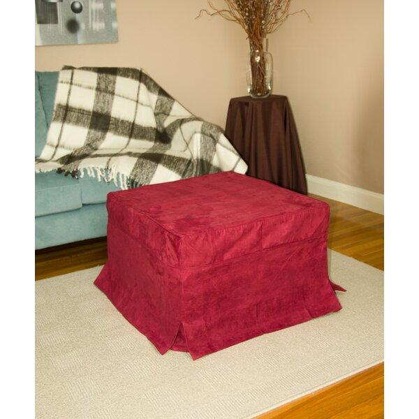 Burgundy Box Cushion Ottoman Slipcover By Freeport Park