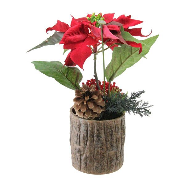 Artificial Poinsettia Floral Arrangement in Pot by The Holiday Aisle