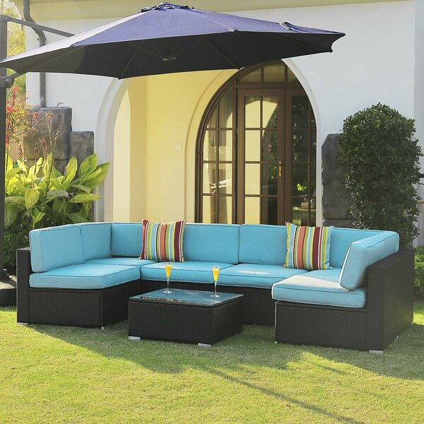 Fancher 7 Piece Rattan Sectional Seating Group with Cushions by Latitude Run