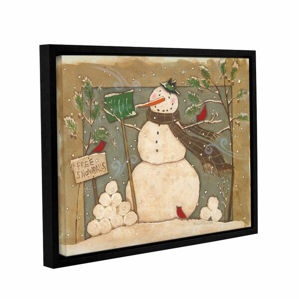 Seasonal Snowman Framed Painting Print on Wrapped
