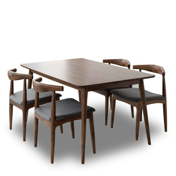 Erdman Mid-century 5 Pieces Solid Wood Dining Set by Union Rustic Union Rustic