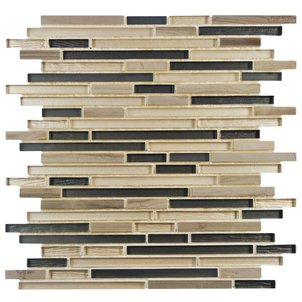Sierra Random Sized Glass/Natural Stone Mosaic Tile in Sand/Brown by EliteTile
