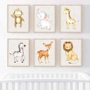 Baby Boy Deer Nursery Wall Decor DEER Antler Nursery Decor Set of 3 Boy Name Rustic Deer Nursery Little Man Cave Bear Print or Canvas