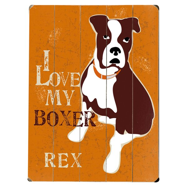 Personalized Boxer Graphic Art Print Multi-Piece Image on Wood by Artehouse LLC