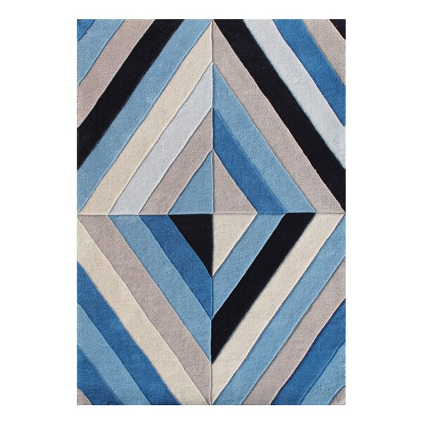 Kinsey Patterned Hand-Tufted Wool Blue Area Rug by Mercer41