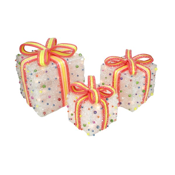 3 Piece Tinsel Candy Bows Lighted Christmas Decoration Set by The Holiday Aisle