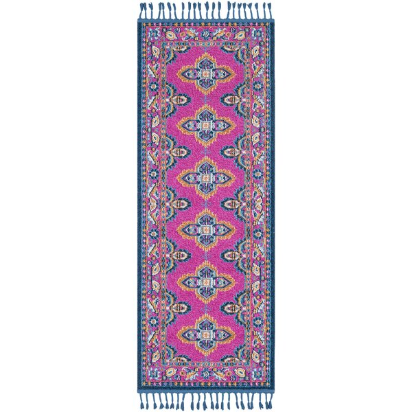 Peregrine Traditional Bright Pink/Navy Area Rug by Mistana