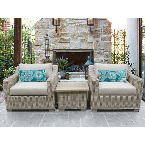 Claire 3 Piece Seating Group with Cushions by Rosecliff Heights