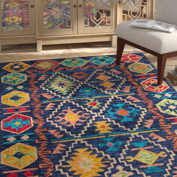 Adilcevaz Hand Tufted Wool Blue/Yellow Area Rug by Bungalow Rose