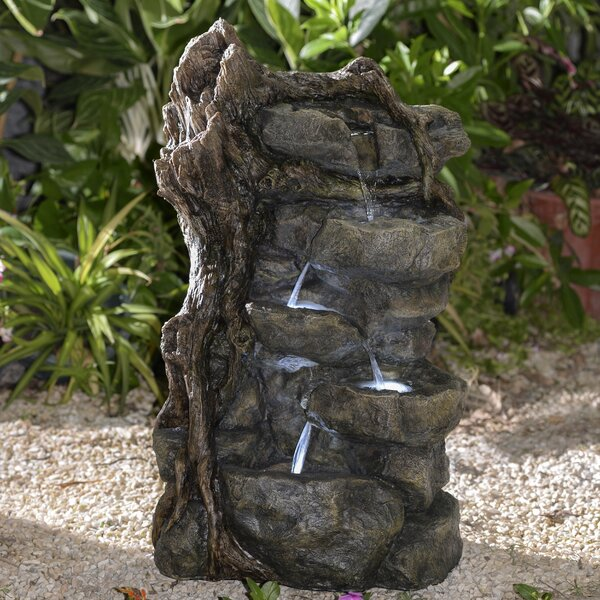 Resin/Fiberglass Multi Tier Rocks Water Fountain by Jeco Inc.