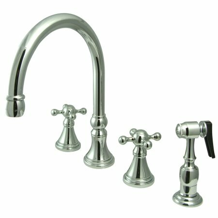 Deck Mount Double Handle Widespread Kitchen Faucet with Knight Cross Handle by Elements of Design