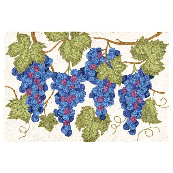 Holsworthy Grapes Wool Cream/Blue Area Rug by Winston Porter