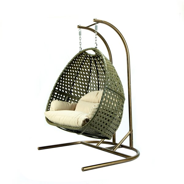 Hubert Wicker Hanging Egg Double Swing Chair with Stand by Symple Stuff