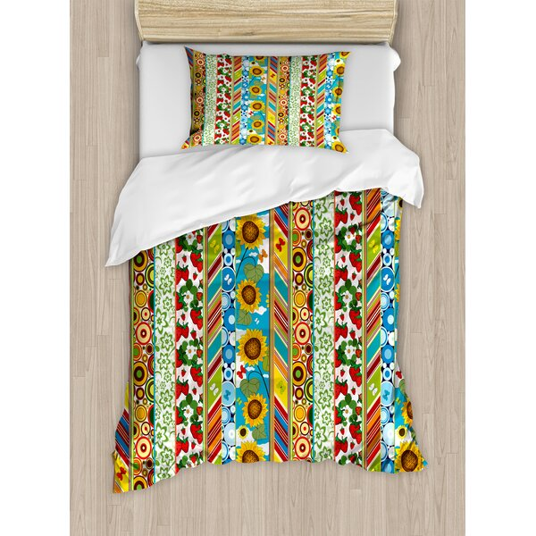 Striped Colorful Duvet Set by Ambesonne