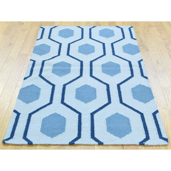 One-of-a-Kind Brassfield Geometric Design Reversible Handmade Kilim Blue Wool Area Rug by Isabelline