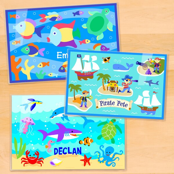 Ocean 3 Piece Boys Personalized Placemat Set by Olive Kids