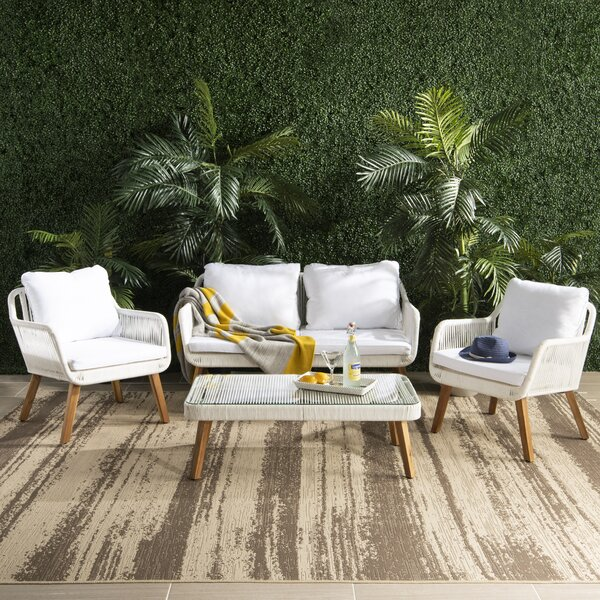 Fletcher Outdoor 4 Piece Sofa Seating Group with Cushion by Modern Rustic Interiors