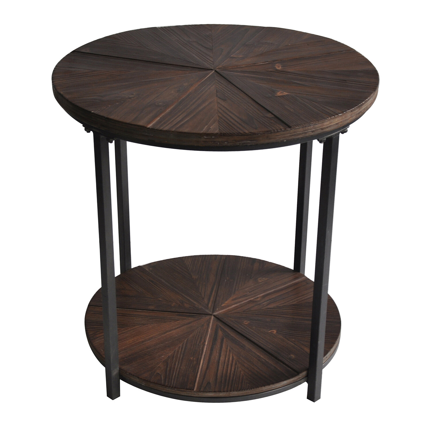 Awesome Gallien Round Metal And Rustic Wood End Table Machost Co Dining Chair Design Ideas Machostcouk