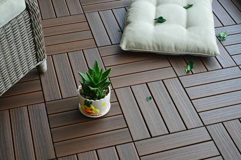 Composite Walnut 12 X Interlocking Deck Tiles