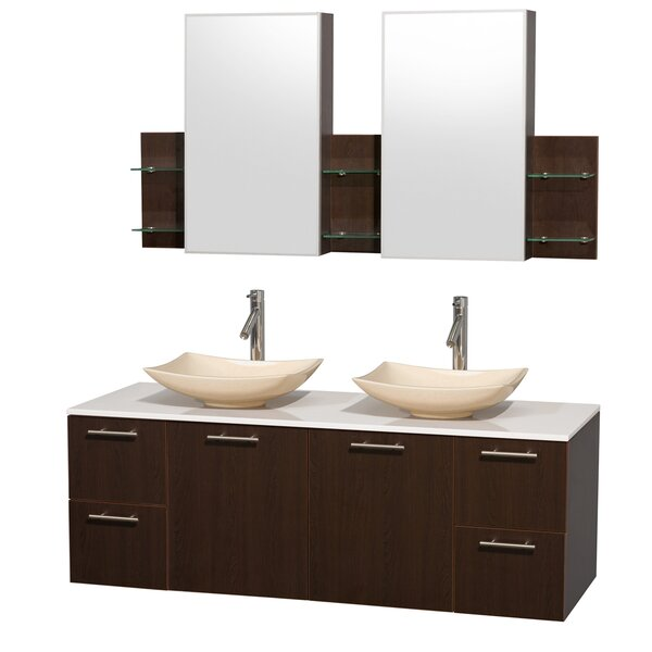 Amare 60 Double Espresso Bathroom Vanity Set with Medicine Cabinet by Wyndham Collection