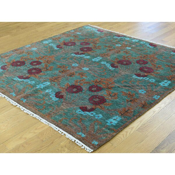 One-of-a-Kind Breanne Handwoven Green Wool Area Rug by Isabelline