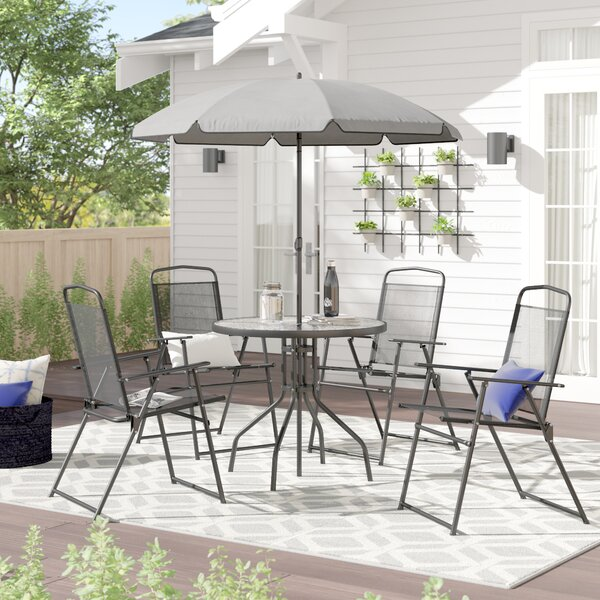 Tollette 5 Piece Bistro Set With Umbrella By Zipcode Design