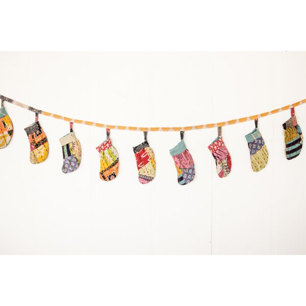 Vintage Kantha Christmas Stocking Garland by Bungalow Rose