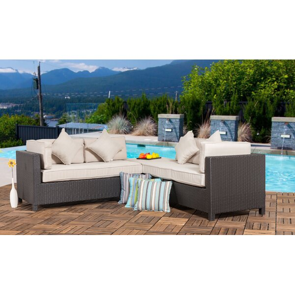 Glenbrook 3 Piece Rattan Sectional Set with Cushions by Darby Home Co