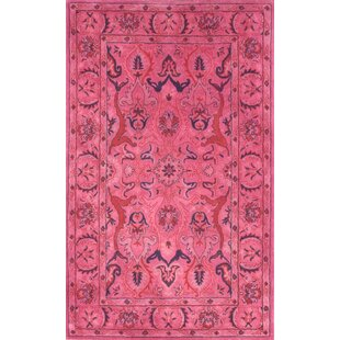 Reid Overdyed Style Hand Tufted Wool Pink Area Rug