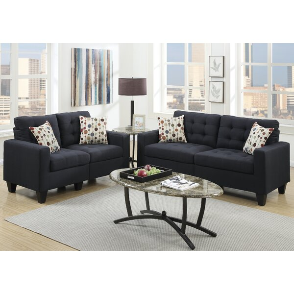 Andover mills callanan 2 piece living room set reviews for Living room 5 piece sets
