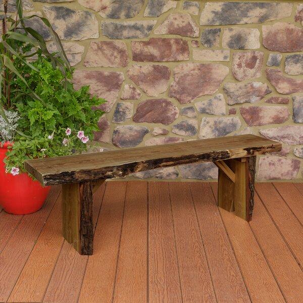 Bruggeman Live Edge Solid Wood Garden Bench by Loon Peak