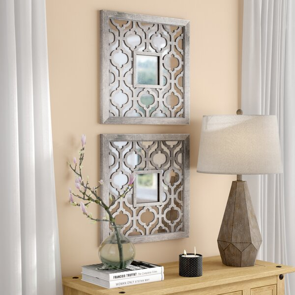 Uptal Square Silver Leaf Wall Mirror (Set of 2) by Mistana