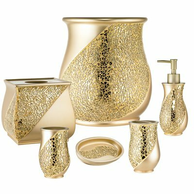 Good Rivet Champagne 6 Piece Bathroom Accessory Set Great Ideas