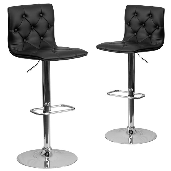 Makena Adjustable Height Swivel Bar Stool (Set of 2) by Wrought Studio