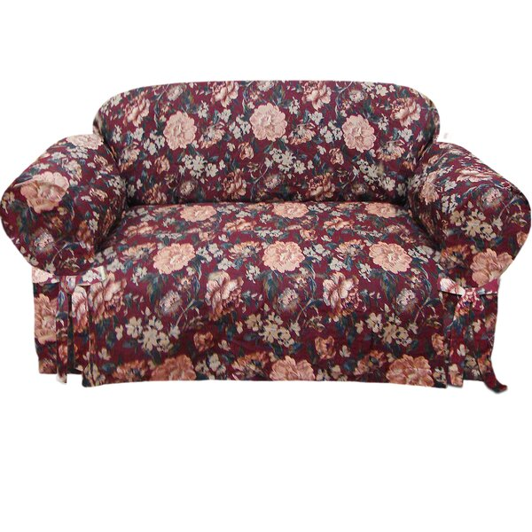 Tapestry Box Cushion Loveseat Slipcover by Textiles Plus Inc.