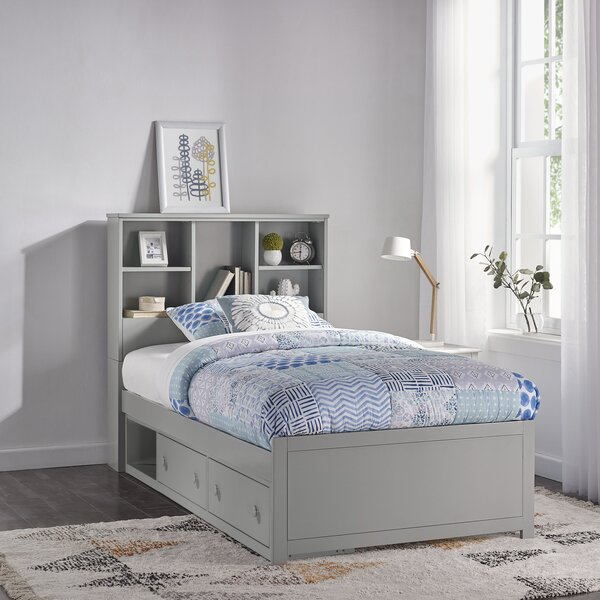 Body Caspian Twin Panel Bed with Drawers and Bookcase by Harriet Bee