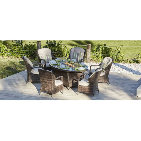 Layton 7 Piece Dining Set with Cushions and Firepit