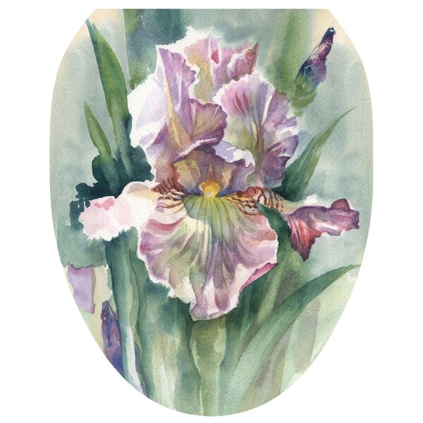 Watercolor Iris Toilet Seat Decal by Toilet Tattoos