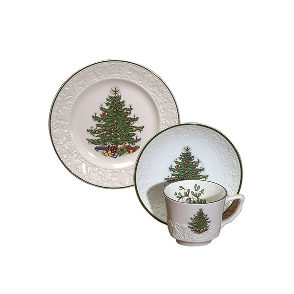 Original Christmas Tree Dickens Embossed Coffee and Dessert Set (Set of 3) by The Holiday Aisle