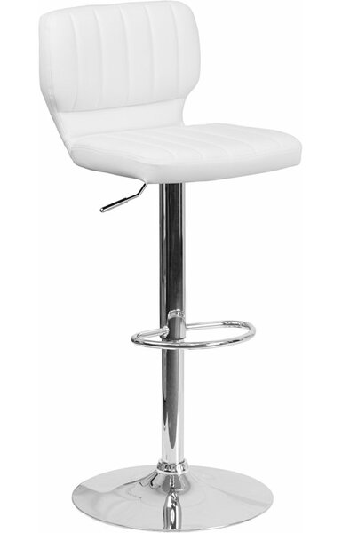 Whelan Low Back Adjustable Height Swivel Bar Stool by Orren Ellis
