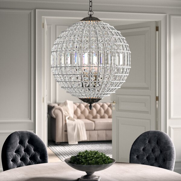 Nazareth 5 - Light Statement Globe Chandelier With Crystal Accents By Greyleigh