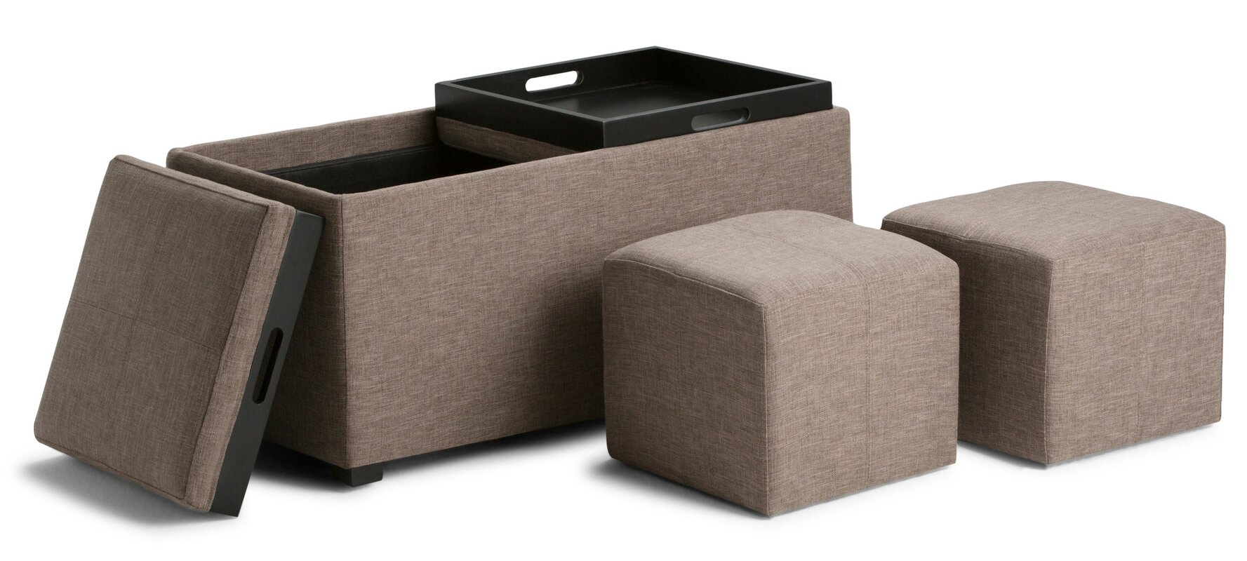 Simpli home avalon 5 piece storage ottoman set reviews for Storage ottoman set