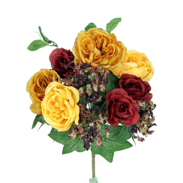 14 Stems Artificial Blooming Queen Rose and Hydrange Mix Flowers Bush by Admired by Nature