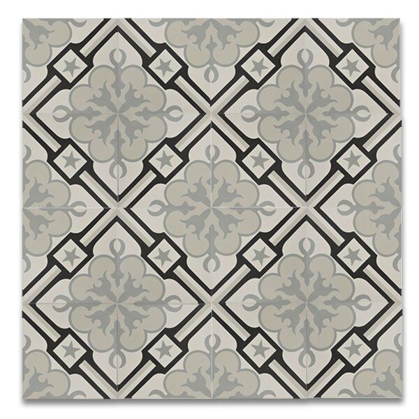 Chala  8 x 8 Handmade Cement  Tile in Black/Gray by Moroccan Mosaic