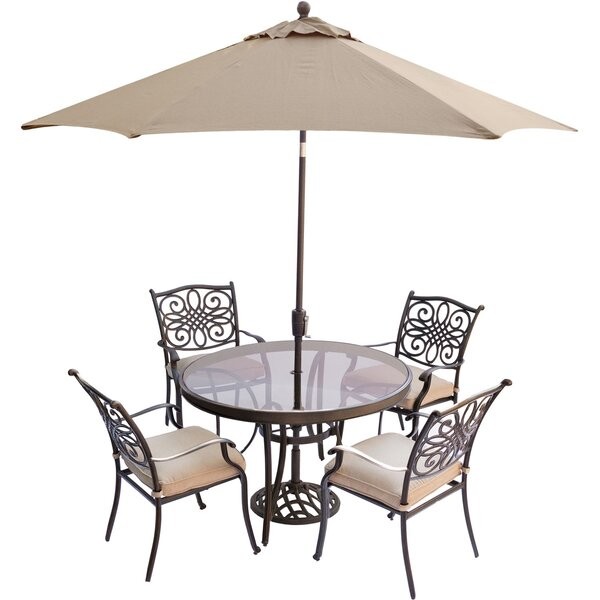 Lauritsen 5 Piece Aluminum Dining Set with Cushions by Three Posts