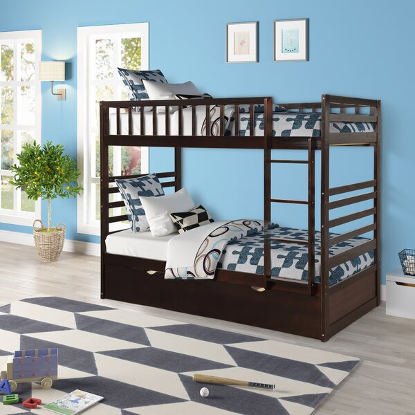 Hanna Twin Over Twin Standard Bed With Trundle by Harriet Bee