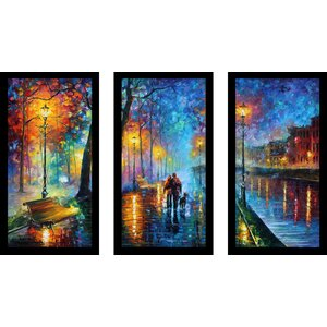 Melody of The Night by Leonid Afremov 3 Piece Framed Painting Print Set by Picture Perfect International